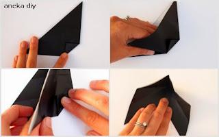 cara membuat origami kucing