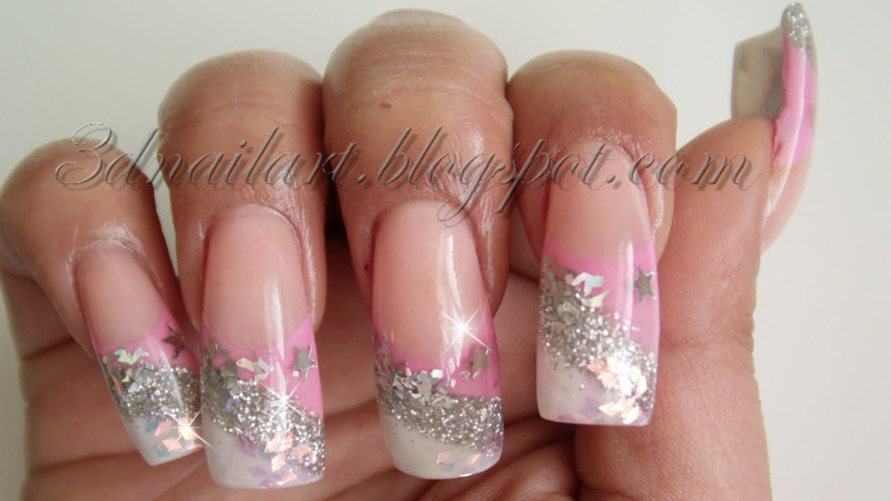 3D Nail Art: Pink & Silver New Year\'s Design 2012