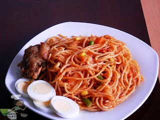 Jollof Spaghetti Nigerian Spaghetti Jollof with vegetables , spaghetti recipes, nigerian food tv, nigerian food recipes , pasta recipes