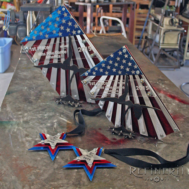 American flag trophies made from mixed metals