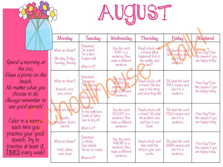 Homework Calendars. Okay --- Weekly Homework Chart Going Down The