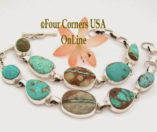 Five stone Turquoise adjustable Link Bracelets Four Corners USA OnLine Native American Jewelry