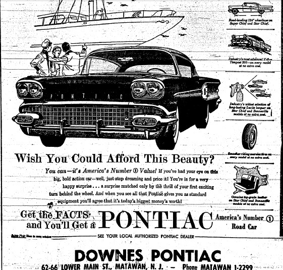 aberdeen nj life  history  downes pontiac  matawan  1958