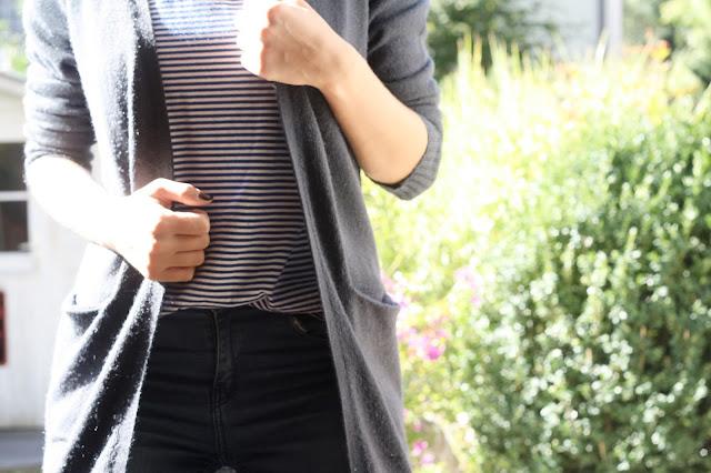 Streifenshirt und Long Cardigan von VILA.