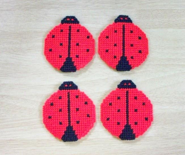 Handmade Beverage Coasters Shaped like Ladybugs