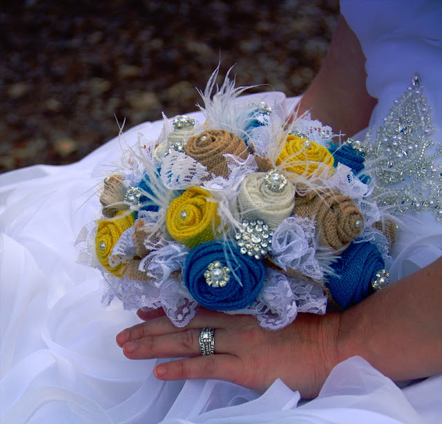 turquoise and yellow burlap, lace and feather bridal bouquet