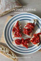 Tastes like trip to Italy...in just 5 minutes! Roasted Red Pepper Tartine