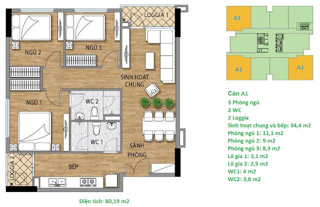 Căn hộ A1 diện tích 80,19 m2 tầng 4-15 Valencia Garden