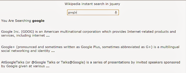 Wikipedia Instant Search In Jquery With Integrated Voice Search