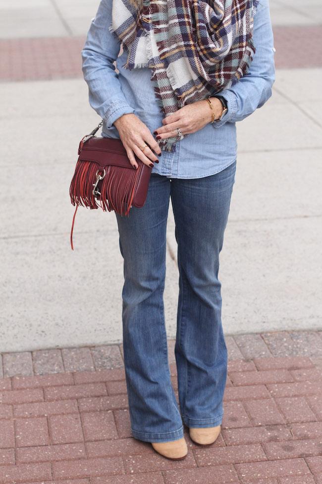 shein scarf, rebecca minkoff bag, vita fede bracelet, goldsign flare jeans