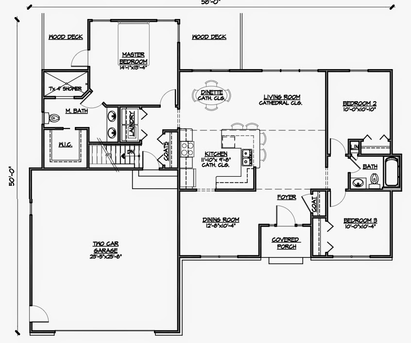 3 bedroom wheelchair accessible house plans universal for Handicap floor plans
