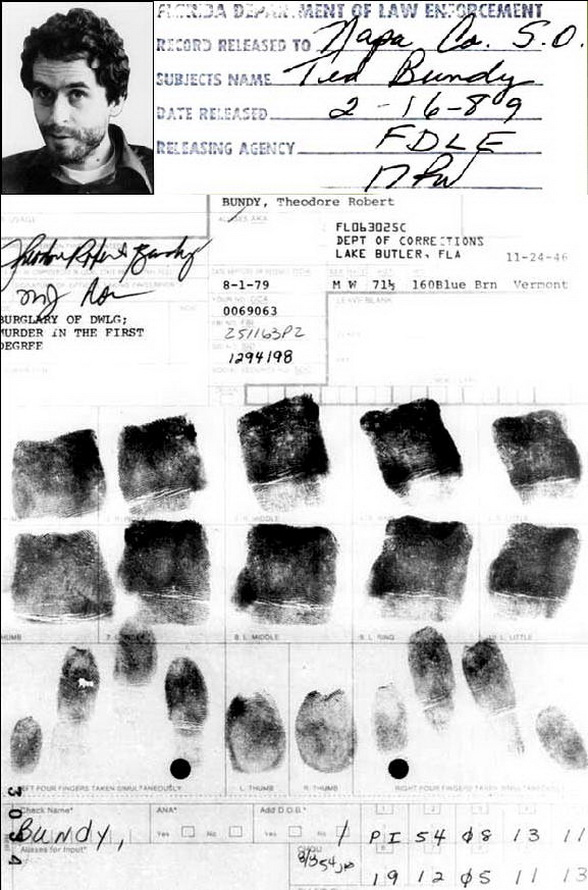 Robert 'Ted' Bundy (serial killer): handprint + fingerprints Tedbundy