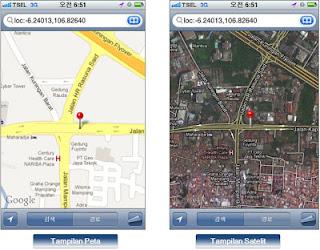Contoh Tampilan Peta dari link SMS Tracking GPS