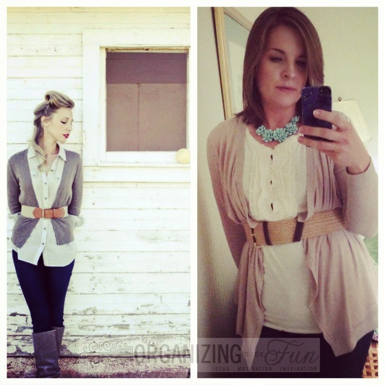 Find outfits from your own closet through Pinterest:: OrganizingMadeFun.com -- cream ruffled top, flower necklace, belted cardigan