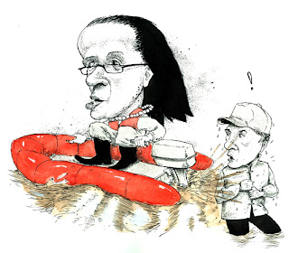 mayor linda thompson of harrisburg in a river rescue boat with pearls on touring shipoke during a flood drawn by illustrator ammon perry with pen and ink and watercolor for today's the day harrisburg