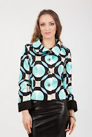 Jacheta turquoise cu negru din bumbac imprimat SR071CC (Ama Fashion
