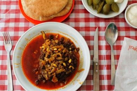 gevulde aubergine, Mahaneh Yehuda