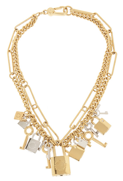 Lock & key gold-tone crystal necklace Marc by Marc Jacobs SS 2015