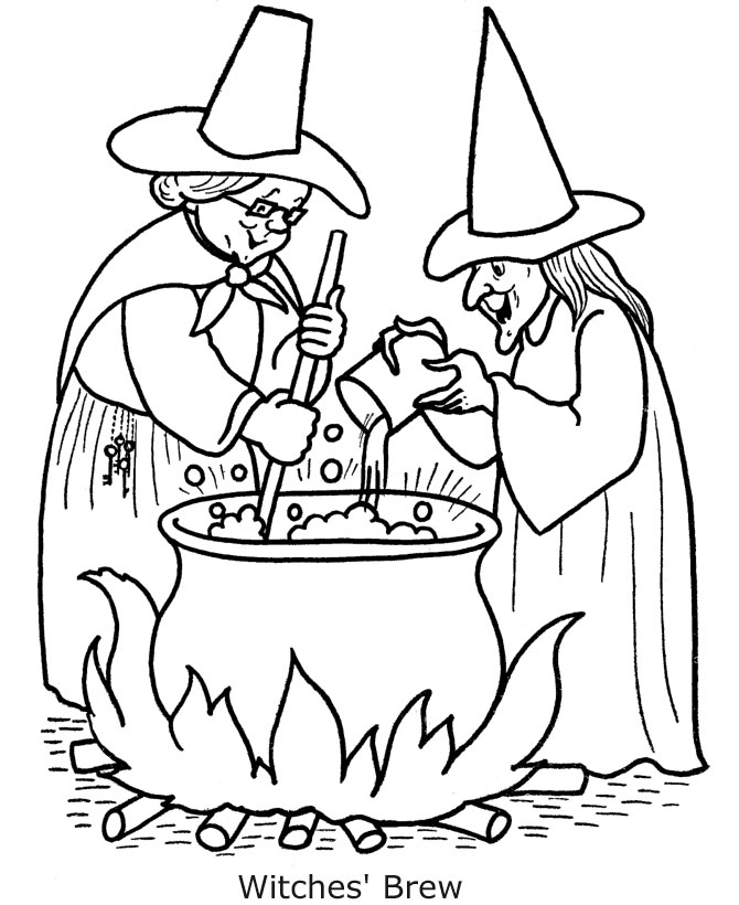Halloween coloring pages free scary halloween coloring for Coloring pages of witches