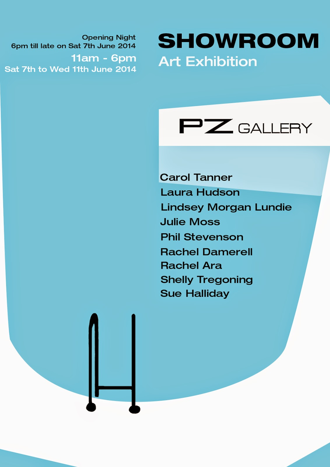 Showroom PZ Gallery Poster advertising end of year show from Newlyn Art School