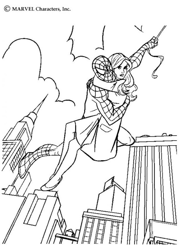 Spiderman Cartoon Super Hero Free Coloring Sheet title=