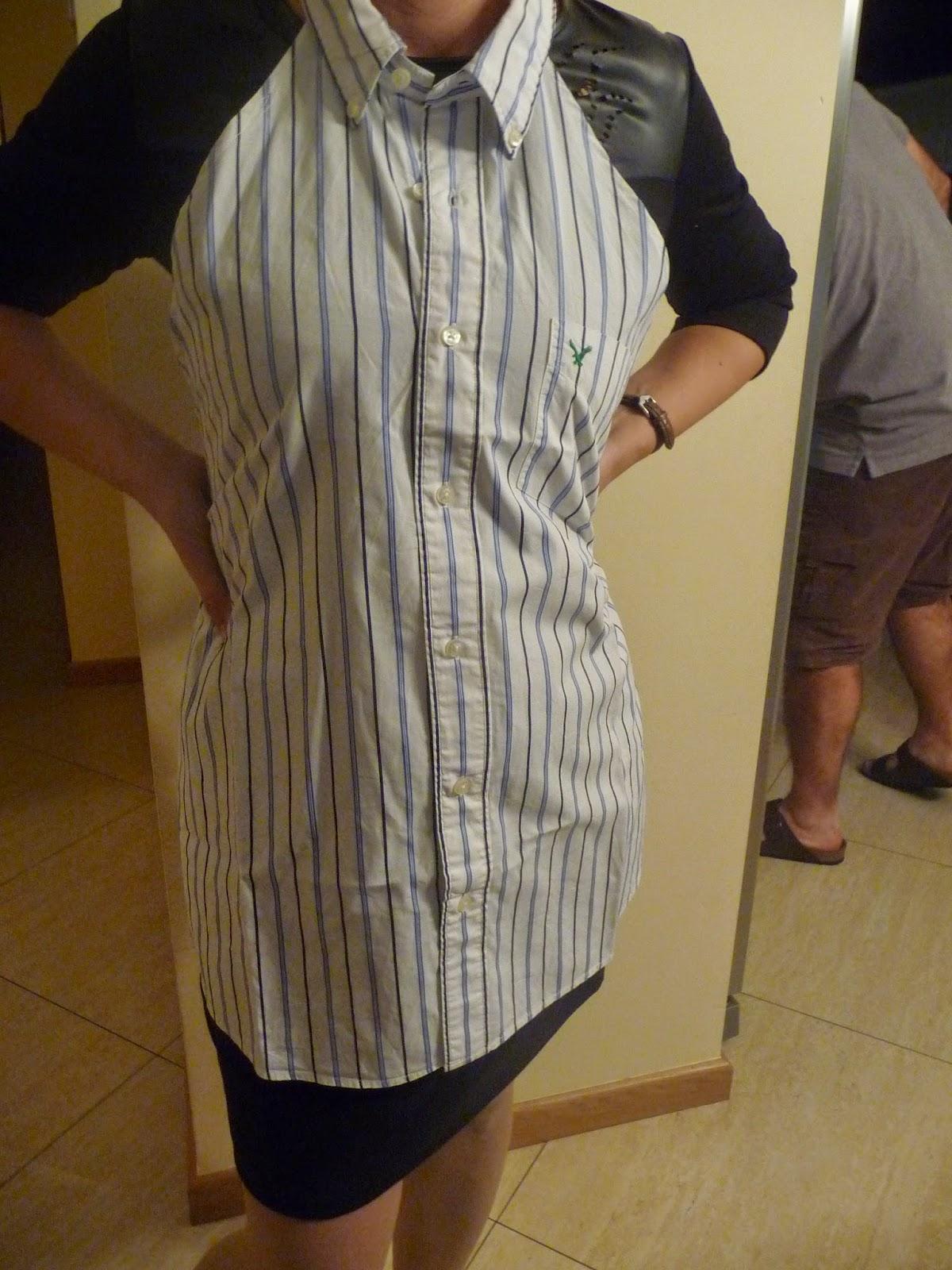 jak zrobić fartuch z koszuli męskiej