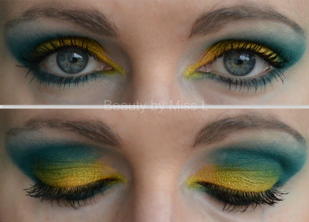 kollane roheline silmameik, smokey eye