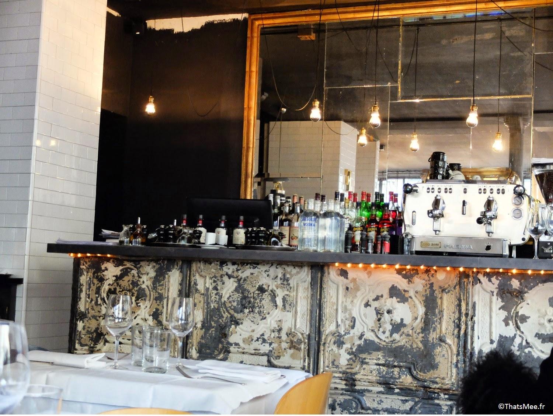 déco bar brulé décapé poncé marbre pierre Pizza Chic Paris 6ème, Resto Pizza Chic Paris proche Saint-Germain-des-prés pizzeria de qualité porduits italiens frais