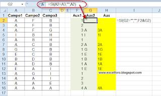 Contando secuencias en un rango de Excel.