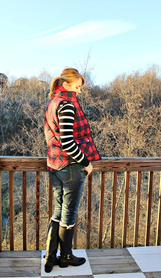 plaid puffer vest, plaid scarf, striped shirt, jeans