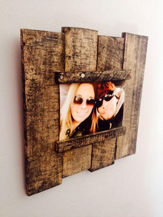 porta retrato de madeira de reuso