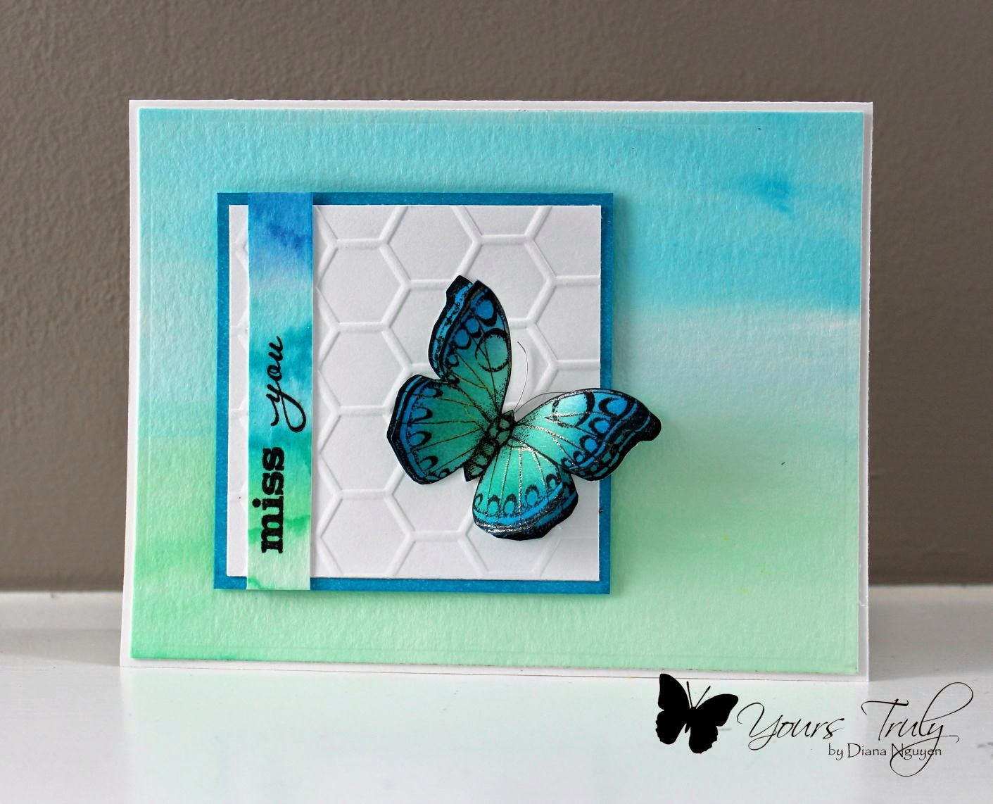 Diana Nguyen, CAS, butterfly, Hero Arts, watercolor, verve