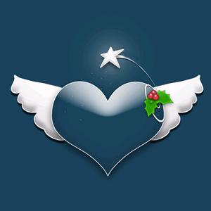 Corazón con alas navideño