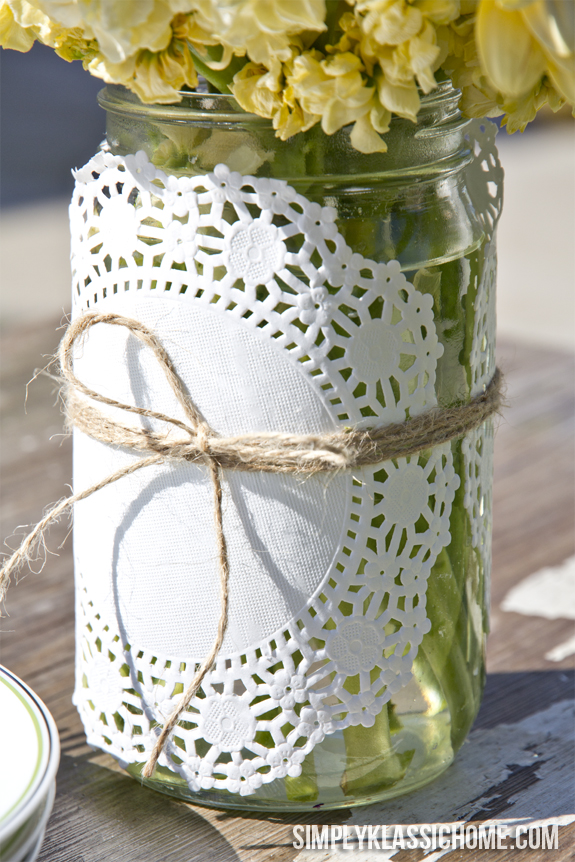 Doily Wrapped Mason Jar Spring Vase Yellow Bliss Road