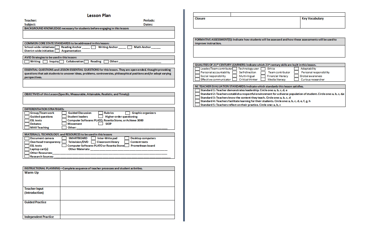 Lesson Plan Template This lesson plan template is