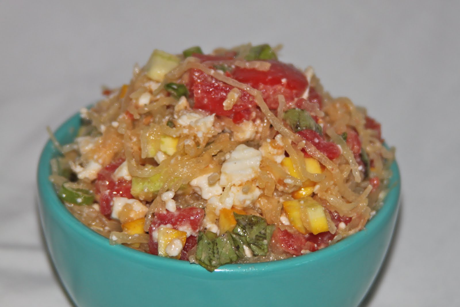cooking out of the box: spaghetti squash salad with tomato and basil