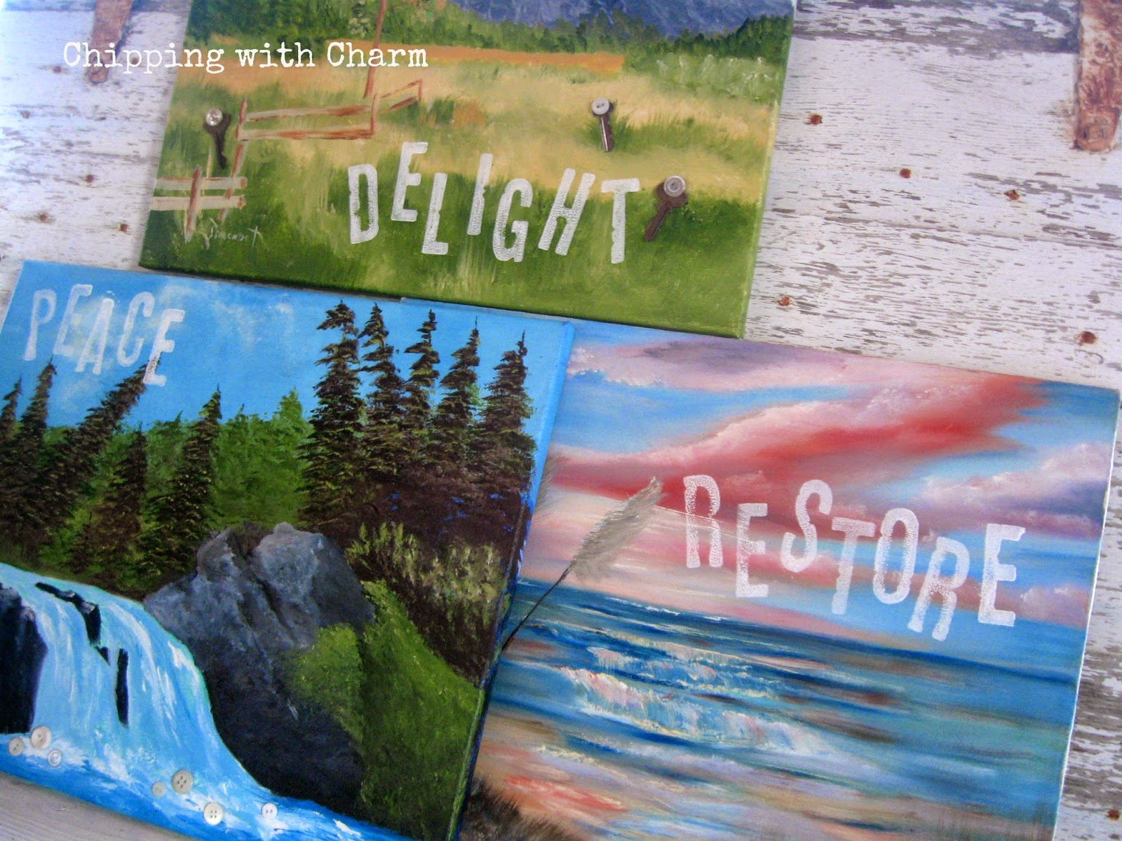 Chipping with Charm: Embellished Thrift Store Art...www.chipping withcharm.blogspot.com