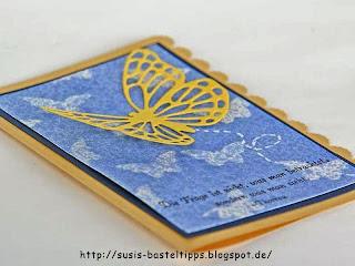 Stampin Up Schmetterling Thinlit auf einer Karte mit Stencil-Technik