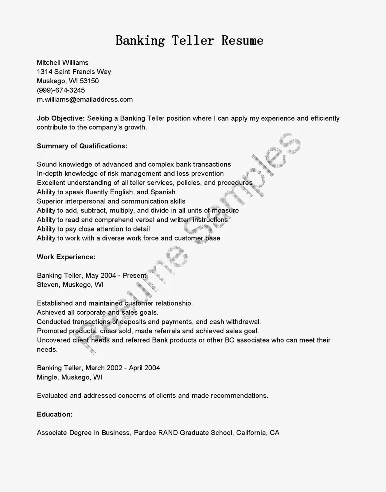Resume Samples Banking Teller Resume Sample