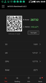 Hisense Pureshot - via aplikasi Antutu Benchmark: Skor benchmark.