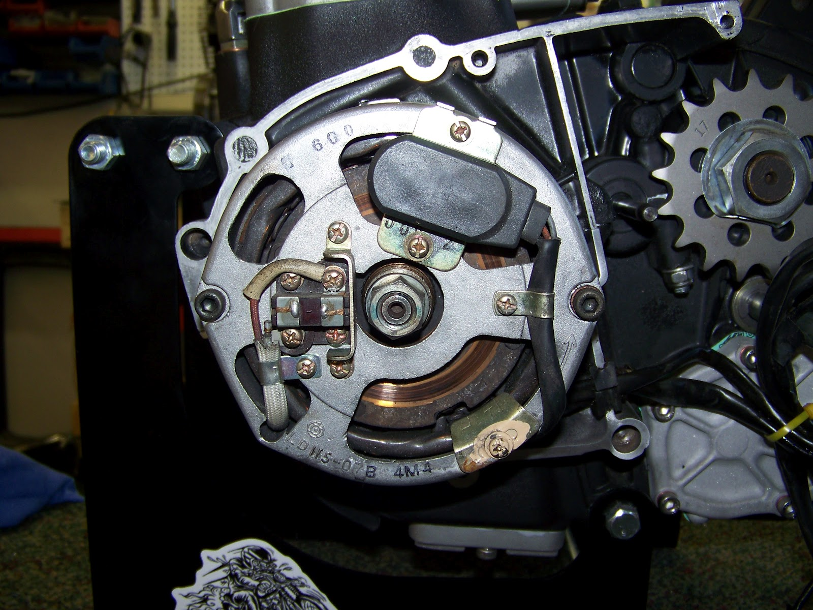 How To Install Your Hughs Handbuilt Pma System On Xs650 Motorcycle Tail Light Wiring Diagram As Well Yamaha Now Simplify A Few Things Down The Road Rotate Engine Tdc Thats T Mark Timing Tab Use Ratchet And 17mm Socket Do This