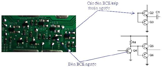 Hình 15 - Các đèn thực tế và trên sơ đồ nguyên lý, các đèn 5 chân là đèn kép thuận ngược có nội dung bên trong như Hình dưới.