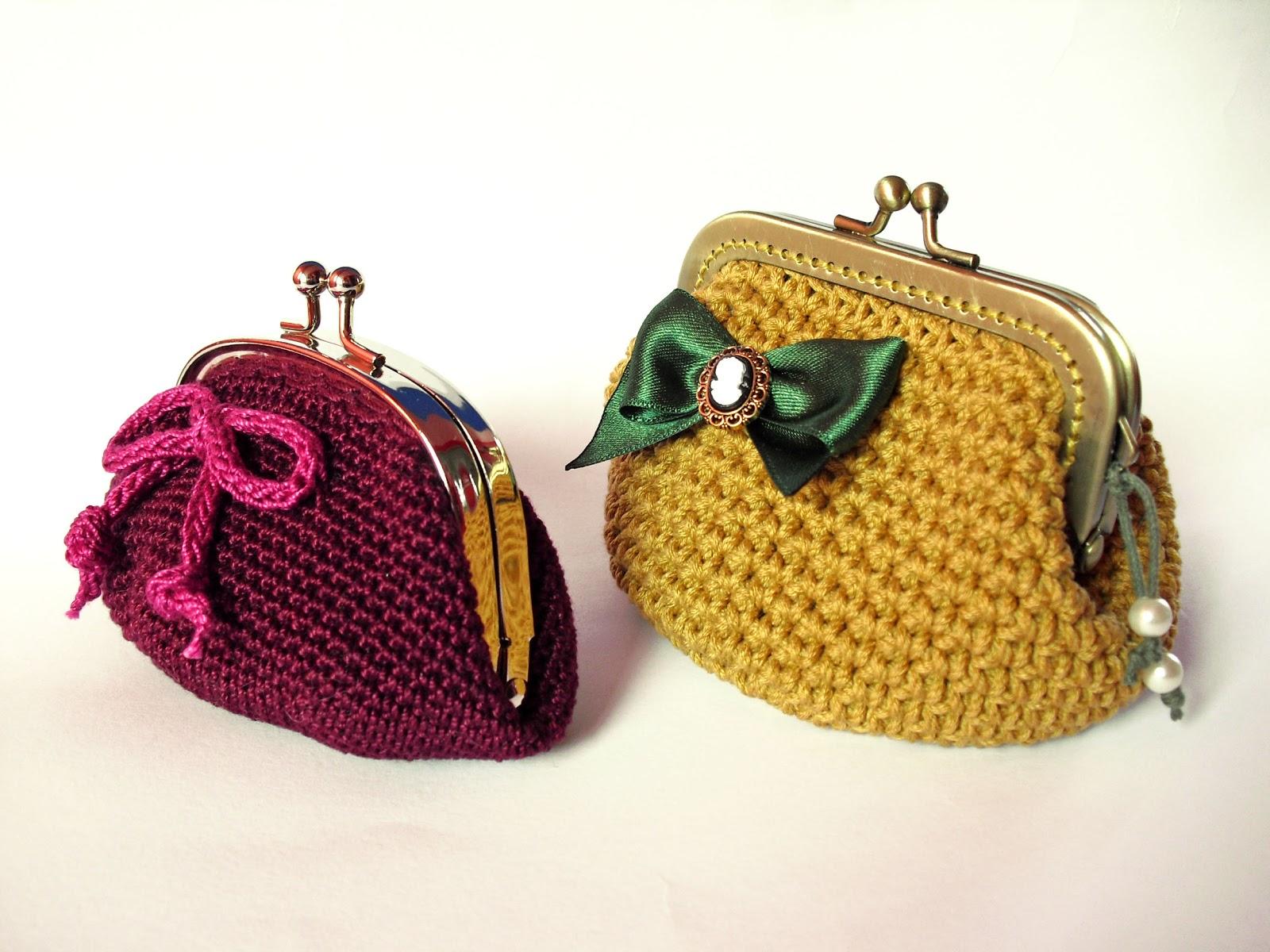 Telartesana: Monederos de ganchillo con boquilla metálica