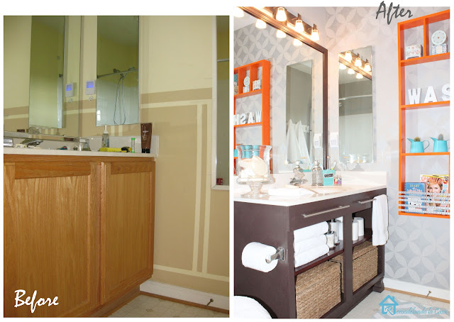 before and after of bath makeover
