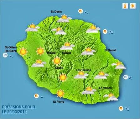 Prévisions météo réunion 20/03/2014