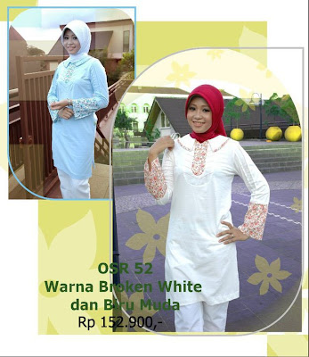 Koleksi Osmoes Kaos Muslimah Trendy Broken White Biru Muda