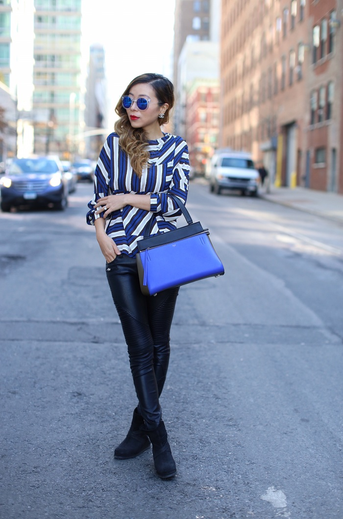topshop high neck blouse, blank denim moto pants, cat footwear wedge booties, celine edge bag, chanel earrings, blue reflective sunglasses, winter essentials, new york fashion blog