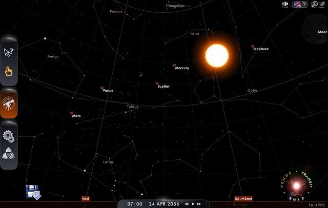 Solar System alinhamento planetário, 2036, céu em 2036, apocalipse