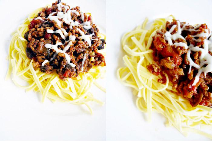 Fettuccine mit Champignon-Bolognese