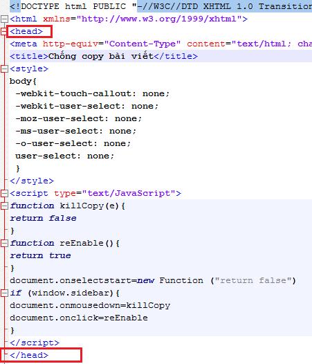 Vị trí đoạn code chống copy